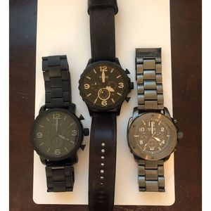 Lot of 3 Beautiful Men's Fossil Nate Watches